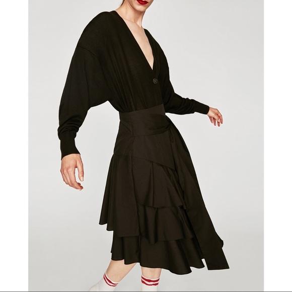 Zara Dresses & Skirts - Zara Poplin Black Cascading Ruffle Tie Skirt